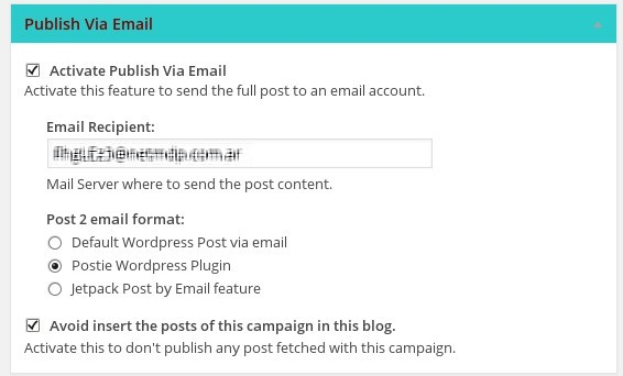 Publish via email metabox